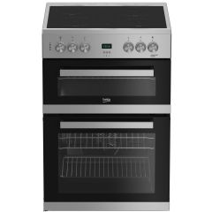 Beko EDC633S 60cm Double Oven Electric Cooker with Ceramic Hob Silver
