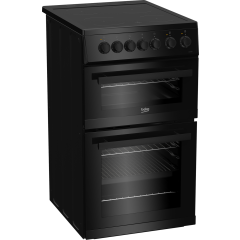 Beko EDVC503B 50cm Double Oven Electric Cooker with Ceramic Hob - Black